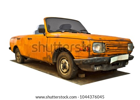 yellow rusty cabriolet car, isolated on white background.