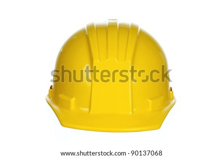 Yellow safety hard hat on white background