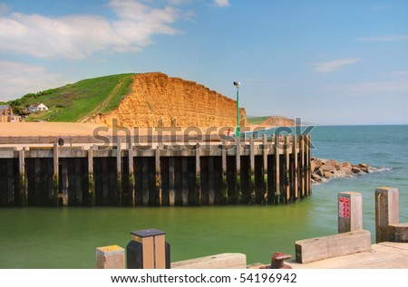 Yellow sandstone ('Bridport Sands') cliffs in West Bay, Dorset. Part of the UNESCO Jurassic Coast World Heritage Site