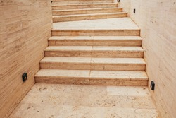 Yellow sandstone stone steps in southern sea town - hot pavement from the sun