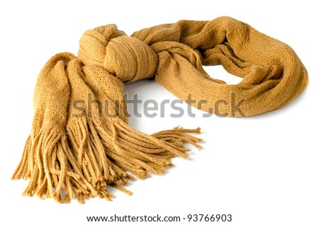 Yellow scarf isolated on white background.