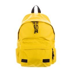 Yellow School Backpack Isolated on White Background. Travel Daypack with Zippered Compartment. Satchel Rucksack. Casual Canvas Backpack. Bag Front View with Shoulder Straps