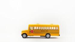 Yellow school bus for school children. Have fun of friendships.