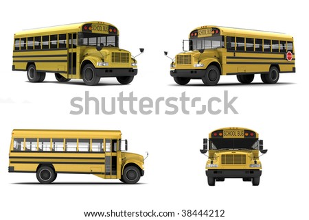 Yellow school bus isolated on white background