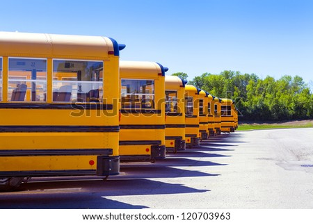 Yellow School Bus With Blue Sky