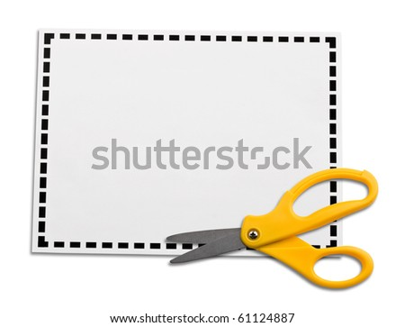 Yellow scissors laying on a blank coupon isolated on white background.  Ready to drop your ad or commercial lines.