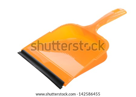 Yellow scoop against white background