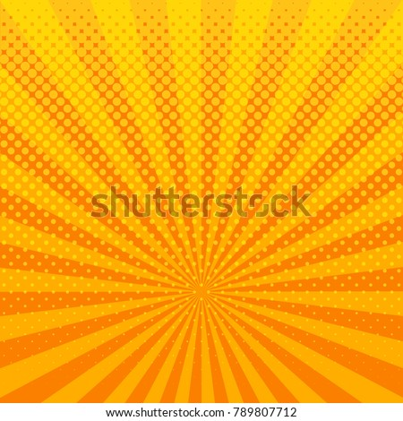Yellow shining halftone design background retro raster illustration.