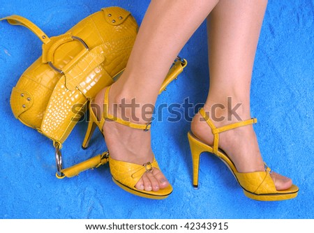 yellow shoes and bag