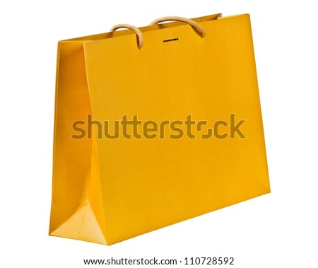 Yellow shopping bag on white.