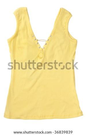 Yellow sleeveless  shirt isolated on white background