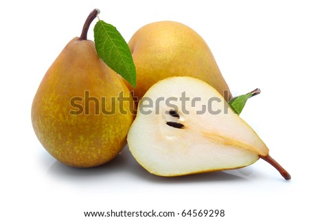 Yellow sliced pears with green leaf isolated on white background