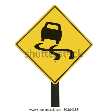 Yellow slippery road sign, isolated on white background, clipping path.