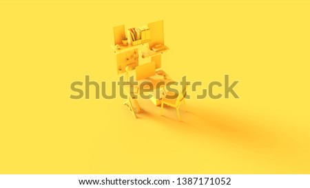 Yellow Small Contemporary Home Office Setup with Shelf's Picture Frames Headphones an Desk Lamp 3d illustration 3d rendering