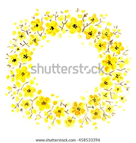 yellow small florets.hand painted round floral frame. Watercolor painting. - Shutterstock ID 458533396
