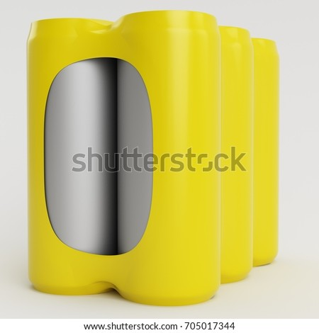 Yellow Soda Shrinking 3D Render Front