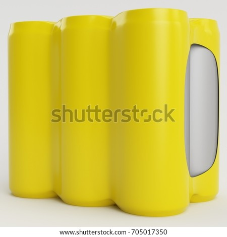 Yellow Soda Shrinking 3D Render Side