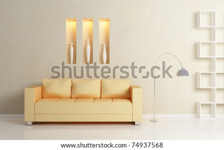 Yellow sofa, chromed lamp and  white shelf against beige wall. White vases inside decorative niches. Modern interior composition.3d rendered