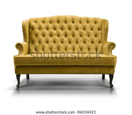 yellow sofa isolated on white background