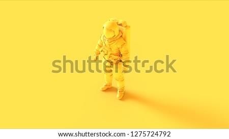 Yellow Spaceman Astronaut Cosmonaut 3d illustration 3d render