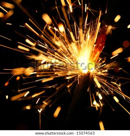 yellow sparkler - stock photo