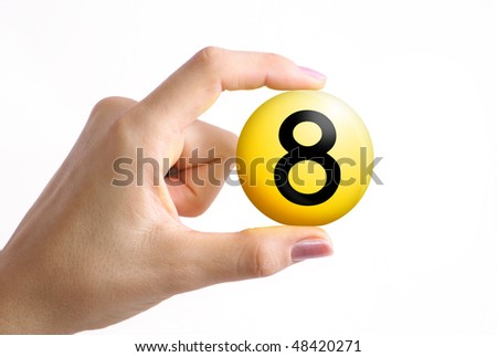 Yellow sphere with 8 number extracted in woman hand