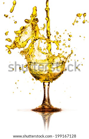 yellow splash out drink from glass on a white background.