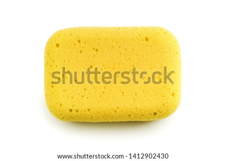 Yellow sponge isolated on the white background. Top view Foto stock ©