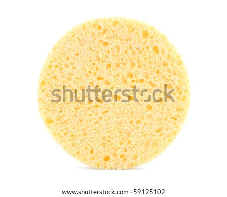 Yellow sponge on white background
