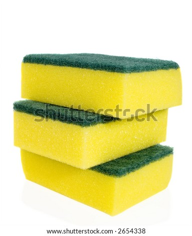 Yellow sponges for washing utensils on a white background