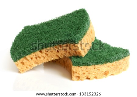Yellow sponges on a white background