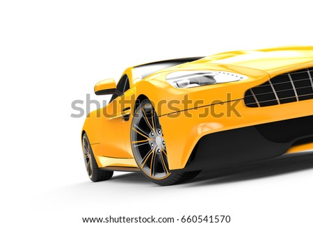Yellow sport car isolated on a white background isolated on a white background: 3D rendering