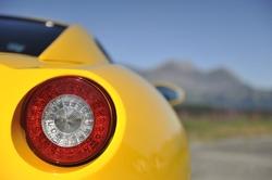Yellow sports car light detail