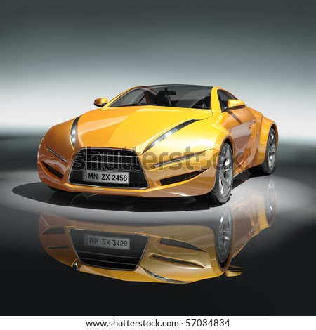 Yellow sports car Original car design.