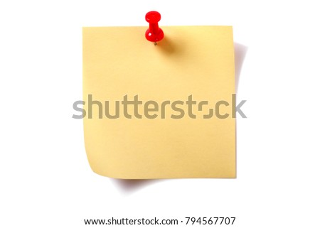 Yellow square sticky post note with pushpin  isolated on white