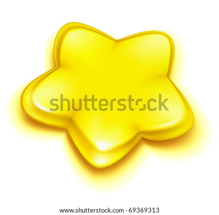 Yellow star, Bitmap copy - stock photo