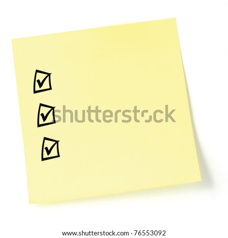 Yellow sticker checklist, black check boxes and tick marks, isolated, blank post-it to-do list sticky note