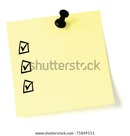 Yellow sticker checklist, black check boxes and tick marks, thumbtack pushpin isolated, blank post-it to-do list sticky note