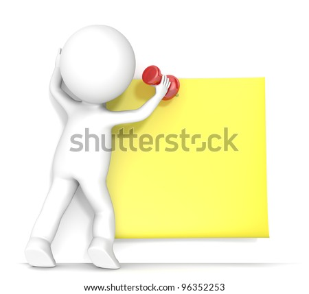 Yellow Sticky Note. 3D little human character attaching a Sticky Note with a Pushpin. People series.