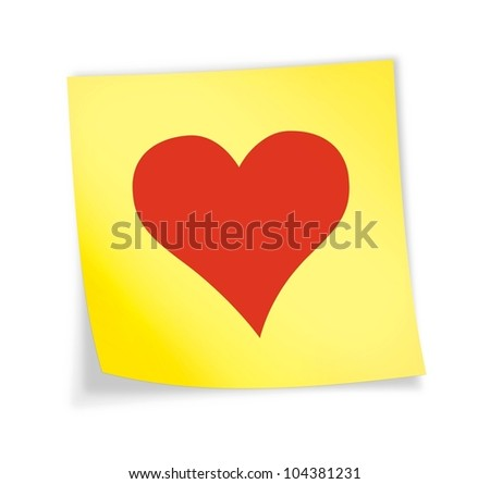 "Yellow sticky note ""heart"", illustration"