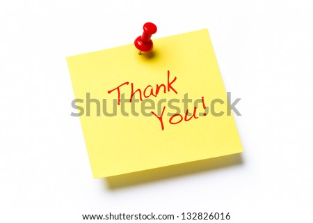 Yellow sticky note isolated on a white background with the words Thank You