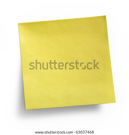 Yellow Sticky Note isolated on white background, clipping path included - stock photo
