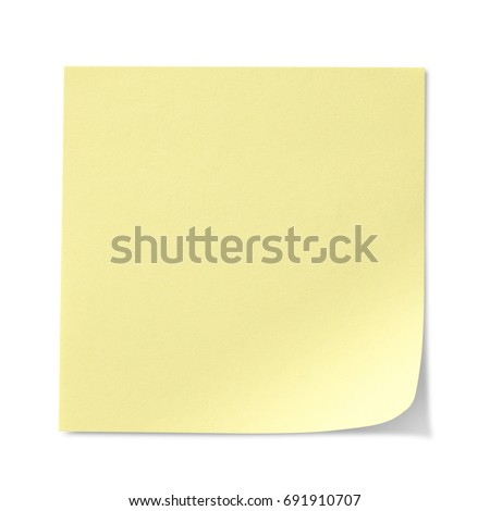 Yellow Sticky Note isolated on white background, clipping path included #691910707