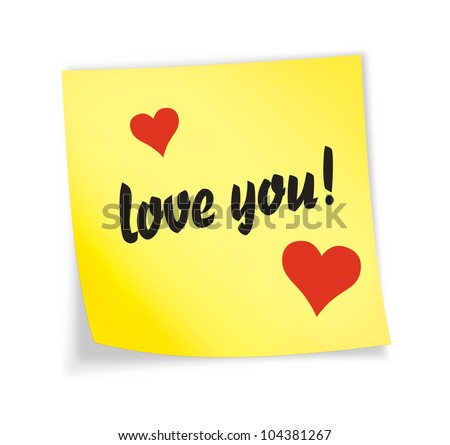 """Yellow sticky note """"love"""",  illustration"""