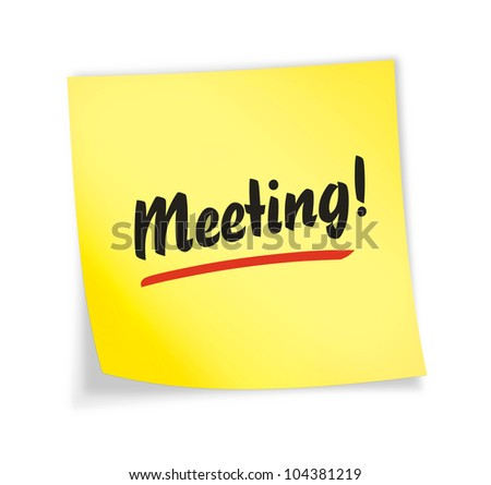 "Yellow sticky note ""meeting"", illustration"