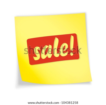 "Yellow sticky note ""sale"", illustration"