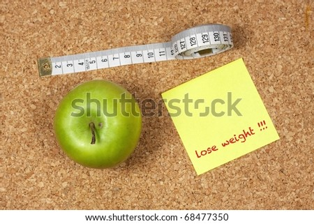 Yellow sticky note to self reminding to lose weight with measuring tape and green apple
