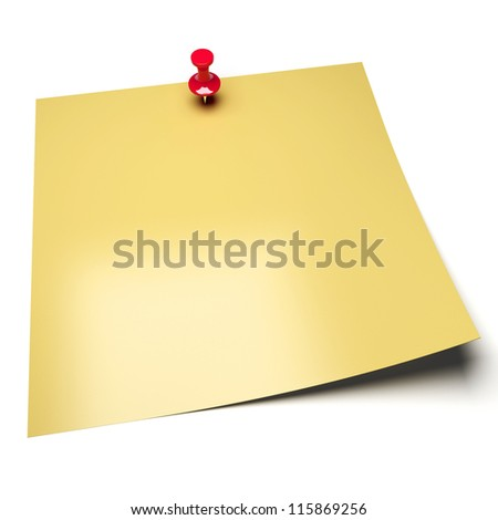 Yellow sticky note with stick pin isolated on white background