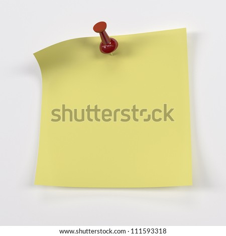 Yellow Sticky Notes with Red Push Pin - Isolated on Background