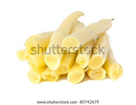 Yellow string beans isolated on white